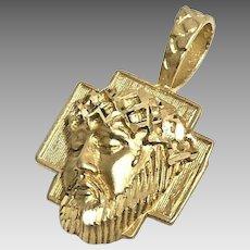 Gorgeous 14 Karat Yellow Gold Jesus Head Charm Pendant #VP41