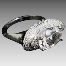 Beautiful Custom Handmade 14 Karat White Gold 4.50 Carat Kunzite and Diamond Accented Ring. #L884