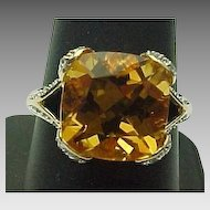 14K Yellow Cushion Cut Gold Citrine & White Topaz Ring