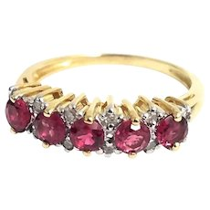 Vintage 14K Yellow Gold 1.00 CTW Raspberry Spinel & Diamond Band Ring. #L171