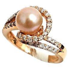 Beautiful 14 Karat Rose-gold 7mm Pink Pearl And Diamond Ring. (#L280 SZ 6), (#L192 SZ 8)