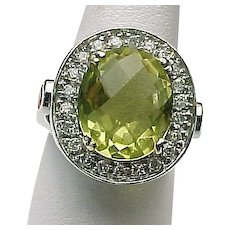 14K White Gold Faceted 4.20 Carat Lemon Quartz, White Sapphire & Fire Opal Ring ~ Circa 1995