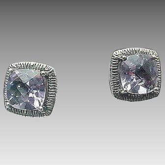 Sterling Silver 5 Carat Princess Cut Pierced Post Earrings