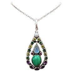 Sterling Silver Malachite, Moonstone, Multi Gemstone Pendant/Necklace