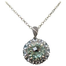"Sterling Silver Prasiolite ""Green amethyst"", White Topaz Pendant/Necklace"