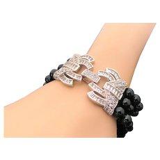 Triple Strand Onyx & Sterling Silver Simulated Diamond Decorative Clasp Bracelet