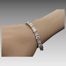 Sterling Silver/Vermeil 13.00 Carat Round & Baguette Faux Diamond Bracelet