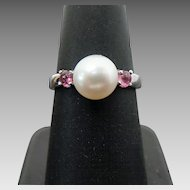 Sterling Silver 8 mm Pearl & Pink Tourmaline Ring #L659