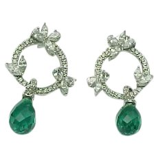 2b79ec91b2b297 Sterling Silver Stunning Faceted Emerald & Simulated Diamond Dangle Earrings