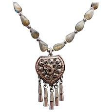Sterling Silver Labradorite Floral Drop Necklace ~ Circa 1995