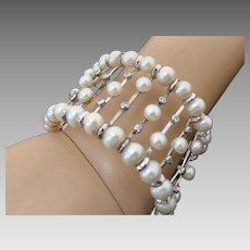 Vintage Sterling Silver White Pearl & Faux Diamond Cuff