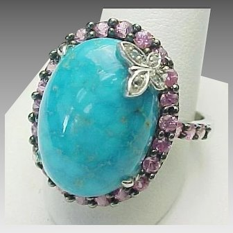 Beautiful Turquoise, Pink Sapphire Butterfly Diamond Ring