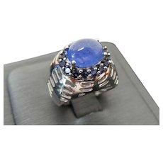 Vintage Sterling Silver Cabochon Tanzanite Ring