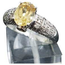 Beautiful 14 Karat White Gold 2.00 Carat Yellow Tourmaline And Yellow & White Diamond Ring #237