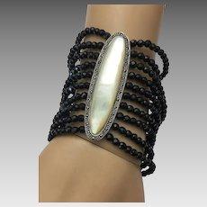 Sterling Silver Multiple Strands Black Swarovski Mop Bracelet