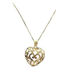 Sterling Silver/ Vermeil Large Filigree Open Heart Necklace