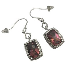 Sterling Silver Wire Dangle Pinkish Red CZ Earrings
