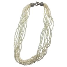 Sterling Silver Multiple Strands Mother Of Pearl & Marcasite Clasp Necklace