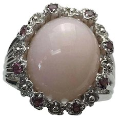 Sterling Silver Pink Opal & Tourmaline Ring