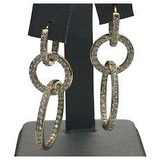 Sterling Silver Pierced Triple Hoop 1.00 Carat Inside Out Simulated Diamond Earrings #L858