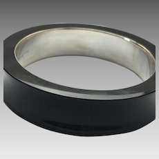 Solid Sterling Silver Onyx Wide Bangle #L859