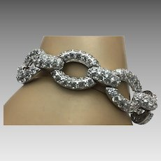 Sterling Silver Simulated Diamond Link Bracelet