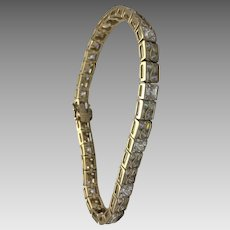 Sterling Silver/Vermeil 8.00 Carat Faux Diamond Tennis Bracelet #L852