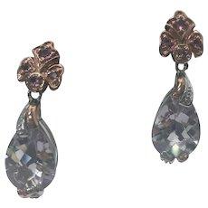Rose Gold Vermeil 2.00 Carat Amethyst Pierced Drop Earrings #L850