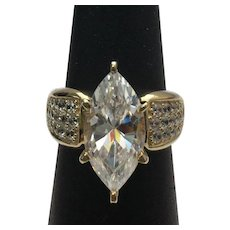 Sterling Silver/Vermeil 3.00 Carat Marquise and Round Simulated Diamond Engagement Ring #L848