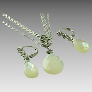 Mother Of Pearl Briolette & Marcasite Triple Chain Necklace & Matching Earrings