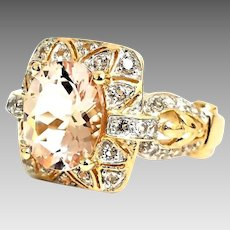 Gorgeous Handmade Vintage Inspired 14K Yellow Gold 3.00 CTW Natural Pink Morganite & White Spinel Ring. #L870