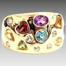 Gorgeous Handmade Custom 14 Karat Yellow Gold 2.00 Carat Multi Gemstone 14.35mm Wide Band. #L866