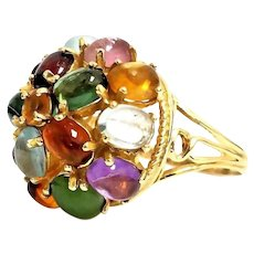 Gorgeous Vintage Handmade 14 Karat Yellow Gold  Multi Gemstone Cabochon Domed Ring. #VR47