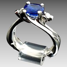 Gorgeous 950 Platinum Natural 1.80 Carat AAA Oval Blue Sapphire & Diamond Engagement Ring. #L915
