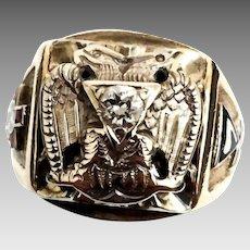 Gorgeous Antique 10 Karat Yellow & White Gold Enabled 32nd Degree Masonic Scottish Rite 1/4 Carat Diamond Ring. #VR44