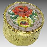 Vintage Italian Millefiori Mosaic Floral Pill Box
