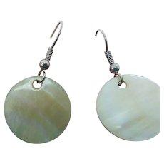 Sterling Silver Mother Of Pearl Pierced Wire Drop Earrings