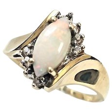 Beautiful 10 Karat Yellow Gold 3/4 Carat Marquise Cut Opal and Diamond Ring #V23