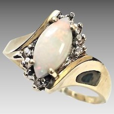 Beautiful 10 Karat Yellow Gold 3/4 Carat Marquise Cut Opal and Diamond Ring #V23