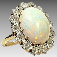 Custom Vintage 14K Yellow Gold 7.50 CTW Natural Opal & Diamond Cocktail Ring. #VR52