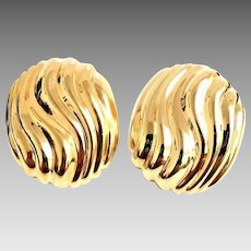 Gorgeous Vintage 14 Karat Yellow Gold 25.75mm X 22.00mm Textured Oval Button Earrings. #VE67.