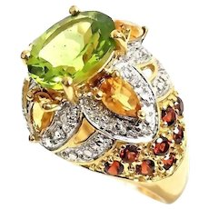 Gorgeous Handmade 10K Yellow Gold 4.00 CTW Peridot, Citrine, Garnet & Diamond Cocktail Ring. #L880