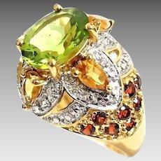 Gorgeous Handmade 10K Yellow Gold 4.00 CTW Peridot, Citrine, Garnet & Diamond Cocktail Ring. #L880