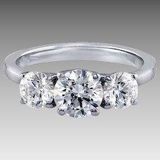 950 Platinum Three Stone GIA Certified SI2-G Round Brilliant 1.50 Carat Diamond Ring