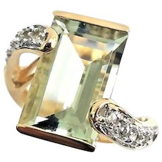 Gorgeous Handmade 14 Karat Yellow Gold 5.50 Carat Emerald Cut Prasiolite & White Topaz Ring. #L879