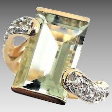 Gorgeous Handmade 14 Karat Yellow Gold 5.50 Carat Emerald Cut Prasiolite & White Topaz Ring. #L879