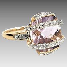 Gorgeous Handmade 14 Karat Yellow Gold 11.00 CTW Cushion Cut Rose De France Amethyst & Diamond Ring. #L865.