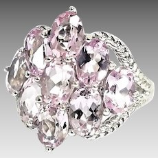 Gorgeous Handmade 14 Karat White Gold 4.00 Carat  Rose De France Amethyst Ring. #L877.