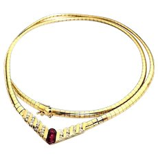 "Gorgeous 14 Karat Yellow Gold 1.00 CTW Natural Ruby And Diamond 18"" Omega Necklace. #VN44"