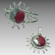 Mexico Sterling Silver Red Jasper Sun Cuff & Pendant